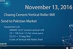 Chaeng Cement Vertical Roller Mill enter Pakistan Market